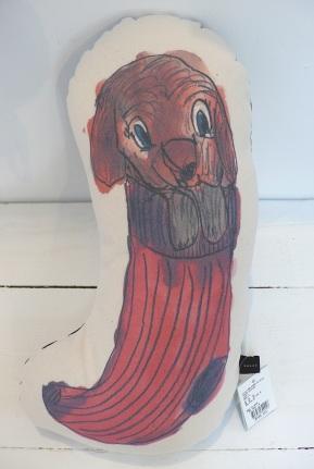 Sock dog cushion-front