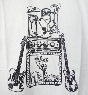 The Flickers 'ONE MAN LIVE' T-Shirt (detail)